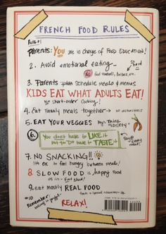 Top ten tips to educate your child about healthy, regular eating. Book is about how French Kids have learned about eating from their parents. GOOD