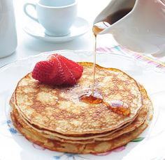 Cream Cheese Pancakes...  Zero carbs & gluten free, these delicious pancakes taste like fried cheesecake AND help you attain your weight loss goals  :-)  make with fat free cream cheese.