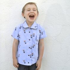 Upcycled Fox button-up top for boys   Pattern from Perfect Pattern Parcel #4, The Maxwell Top made by a happy stitch