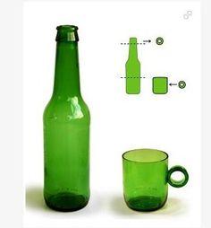 Reciclar botella vidrio taza