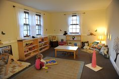 "Montessori inspired playroom. Absolutely beautiful, so wish I'd done less ""traditional"" furniture with K!"