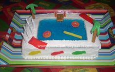 Homemade Swimming Pool Birthday Cake: I made this Swimming Pool Birthday Cake for my son's 11th birthday party.  He has a July birthday so it's always a swim party.  I made two 13x9 inch cakes