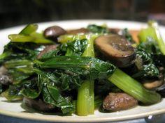 Stir-fried Turnip Greens (with Mushrooms and Almonds)