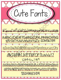 Cute Fonts FREE set of 5 from The Resourceful Teacher on TeachersNotebook.com -  (1 page)  - FREE set of 5 cute fonts!  For private or commercial use.