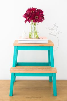 DIY Washi Tape Stool -- great idea for all that unfinished  Ikea wood furniture!