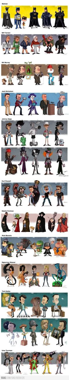 Evolutions--love this little cartoons of some of my favorite actor's in character!