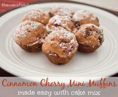 Cinnamon Cherry Mini Muffins - made with Cake Mix