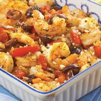 This Shrimp Casserole is light and fresh, but feeds many!