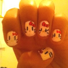 My attempt at hello kitty nails