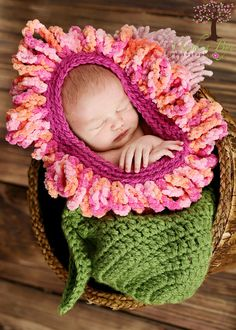 Adorable Newborn Pink Orange Berry Flower by JustDandyCreations,