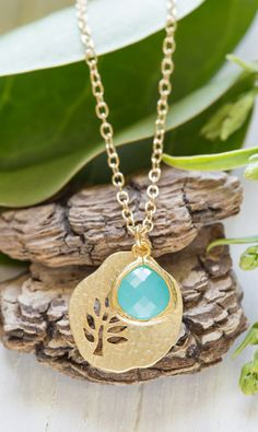 Sweet Simplicity Gold Tree Pendant and Turquoise