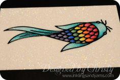 copics on Glitter Ritz tutorial http://www.inklingsandyarns.com/2012/08/copics-on-glitter-ritz-a-tutorial/#  beautiful rainbow fish