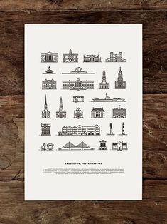 Charleston Landmarks by jfletcherdesign #Illustration #Letterpress #Charleston