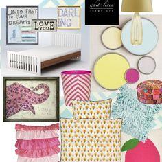 [Get The Look] Lollipop Pink: Young Girls Modern Room | Color + Furniture + Décor Selection Design Board #HomeDecor #Furniture #Lighting #bedding #WhiteLinenStyle #eDecorating #eDesign #ProjectDécor
