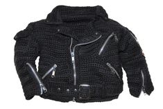 Motorcycle Jacket Crochet Pattern / pattydavisdesigns   Hey Jessica Mills, I think your little Piper would look too cute in this!