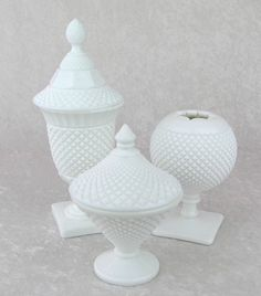 Westmoreland English Hobnail Milk Glass-Ball Vase-Apothecary Jar-Lid Candy Dish