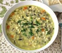 Corn Chowder with Wild Rice  - A rich, thick, creamy, hearty soup made with fresh corn, vegetables and has a slight kick of heat from peppers. Perfect for a weeknight meal and only 137 calories a serving!