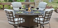 Atlas dining with Fire Pit @woodardfurn