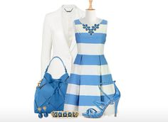 Striped dress with white coat