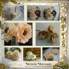 Handmade Paper Flowers - Vintage Vineyard Collection - Wedding - DIY - Table Decoration - Place Cards - Corsages