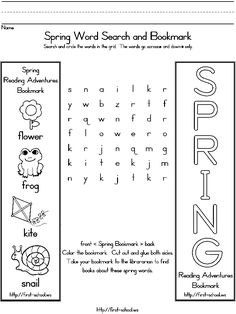 Spring theme bookmark and word search for preschool, Kindergarten and early grades bookmark, preschool