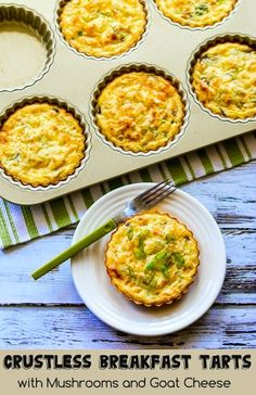 Absolutely loved these Crustless Breakfast Tarts with Mushrooms and Goat Cheese. This recipe was inspired by a new tart pan, but the recipe gives other options if you don't have a pan like this. [from KalynsKitchen.com] #LowCarb #GlutenFree #SavoryBreakfast