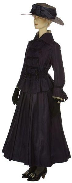 Suit, Marshall and Snelgrove Ltd (retailer): circa 1916-1918, English, silk taffeta, chiffon, machine-made net frill, lined with silk, silk braid, boned, Petersham.