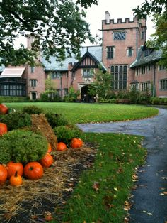 Stan Hywet Hall, Akron Ohio, Oct 2011 house front, hall garden, manor hous