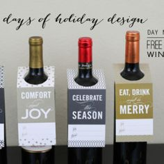 Printable Holiday Wine Bottle tags