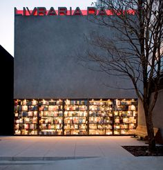 Livraria da Vila (Isay Weinfeld) in Sao Paulo.  The facade is made of pivoting bookshelves to open onto the street!