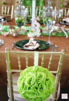 flower pom chair decorations