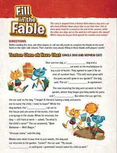A printable Mad Libs-style kids activity based on a Haitian fable about the rewards of hard work.