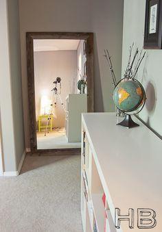 Reclaimed Floor Mirror | House Bella bathroom mirrors, vaniti mirror, idea, reclaim wood, floors, bathroom vanities, bathrooms, hous, huge floor mirror
