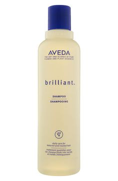 Aveda brilliant™ Shampoo: A daily deep-cleansing shampoo that moisturizes, too. Takes away product build-up and debris, without stripping. Makes comb-through simple. Helps soothe your scalp with certified-organic calendula, camellia and aloe. Promotes shiny, healthy, clean hair.