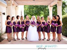 absolutely LOVE the deep purple bridesmaids dresses!