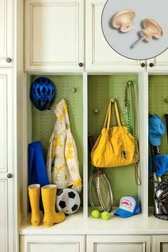 How to customize your mudroom setup with pegboard-backed lockers fitted with movable wood knobs that can be reconfigured as children grow or seasonal needs change. | Photo: Photo: Laurey W. Glenn | thisoldhouse.com