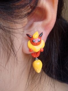 Cute Pokemon Flareon Two-Part Clinging Earrings. $20.00, via Etsy.