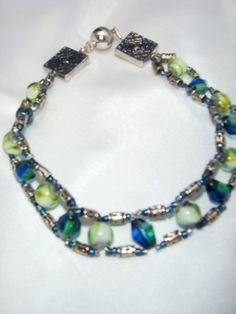 Large Anklet/ Aqua,Green and Silver Beaded Anklet with Magnetic Clasp/ Trendy Aqua Green Anklet #SPBiz #gifts