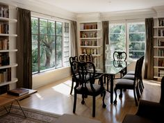 library and dining room combo