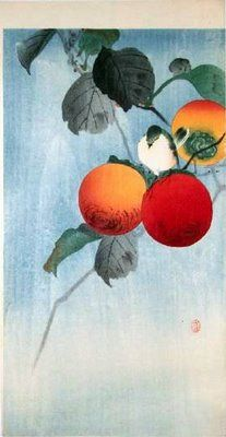 Nuthatch atop a persimmon: Koson Ohara