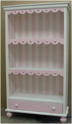Cottage Scalloped Children's Bookcase w/Drawer cottag, children bookcases, leah room, childrens bookcase, little girl rooms, cousin room, nursery bookcase girl, dress up closet
