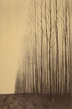 drawings, japanese prints, stick, winter trees, art, etchings, forest, paint, shigeki tomura