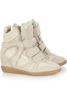 Isabel Marant Bekkett suede and leather high top wedge sneakers
