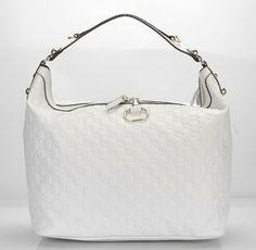 Gucci Handbags,Gucci Icon Bit Guccissima Leather Hobo Bag White 232950