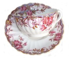 Vintage Spode Irene Pink Floral Bone China Teacup