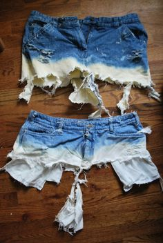 how to bleach shorts - and it shows you what happens when you do it improperly.