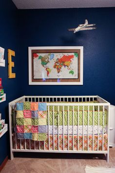 Alayna's Nursery Tour - Deep colors, bright patterns and vintage travel theme.