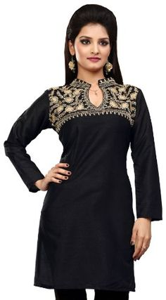 Ladies Designer Silk Embroidered Black Kurti with Sequins Indian Apparel - List price: $60.00 Price: $48.00 Saving: $12.00 (20%)