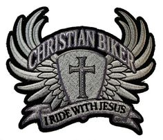 I Ride with Jesus Christian Biker Wings Cross Motorcycle Rider Iron on Patch D33  http://bikeraa.com/i-ride-with-jesus-christian-biker-wings-cross-motorcycle-rider-iron-on-patch-d33/