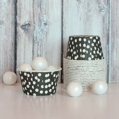 Candy Cups - Black Polka Dot from The TomKat Studio Party Shop